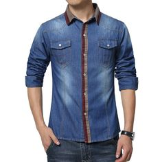 Trendy Casual Denim Shirts For Men, Size M-5XL