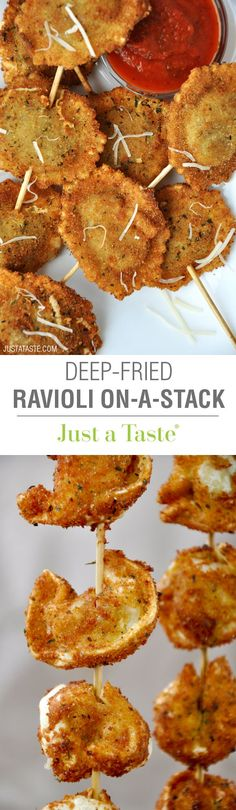 Food Inspiration Deep-Fried Ravioli On a Stick Recipe Fondue, Food Trucks, Tapas, Deep Fryer Recipes, State Fair Food, Carnival Food, Relleno, Appetizer Recipes, Cheese Appetizers