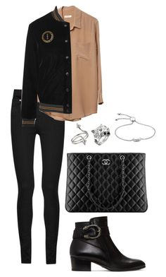 """""""Untitled #1223"""" by elipenaserrano ❤ liked on Polyvore featuring Yves Saint Laurent, Equipment, Gucci, Chanel, Miss Selfridge and Monica Vinader"""