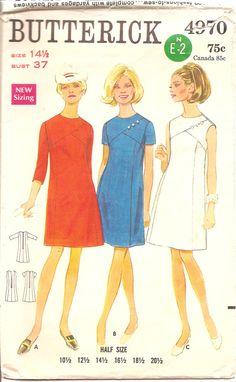 60s SEAM DETAIL dress Butterick 4970 bust by MissKarensTreasures, $5.00