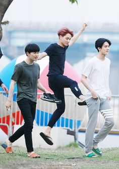 "Suho, Kai and Sehun Kai is like: ""Pretty fairy coming through"" Sehun: ""Excuse them, they're missing out on medication."" Suho: ""KRIS YOU DOG LEAVING ME WITH THE KIDS!!"""