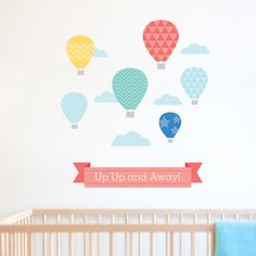 An inspiring balloon wall sticker design for a little boys room or nursery.  Includes + Hot Air Balloons x 6 + Largest: 24cm high + Clouds x 5 + Banner: 64cm wide  As pictured, covers a large area 73cm wide x 83cm high.  100% Quality Guarantee You will be impressed with the quality of our wall stickers. Our premium fabric wall stickers are the very best for the Australian market, they won't peel or curl but are completely removable with no damage to your wall.