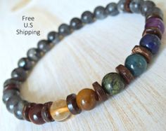 Seven chakras stack, 7 chakras bracelet set, stackable bracelets, seven chakras, bracelet set, yoga bracelets  Set of 7 chakra bracelets made with 6MM stones Carnelian, Tiger eye, Yellow Jade, Moss Agate, Amazonite, Sodalite, Amethyst... each one representing each chakra.. Strung on strong stretch cord. LESS THAN $11 EACH BRACELET!!! A SUPER DEAL:)  IMPORTANT!!! Order your exact wrist size in inches plus 0.25 for a comfortable fit... anything larger will be too large for your wrist... you…