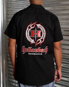 Hellanbach Patched Industrial Mechanic Work Shirts feature three patented state-of-the-art patches w/highly dimensional graphics. Mens Work Shirts, Mens Tops, T Shirt, Collection, 3d, Store, Fashion, Supreme T Shirt, Moda