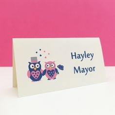 Owl design on-the-day wedding stationery - table number, place name, menu, order of events card or thank you cards Wedding Place Names, Wedding Places, Owl Wedding, On Your Wedding Day, Stationery Items, Wedding Stationery, Wedding Programs, Wedding Reception, Two Brides