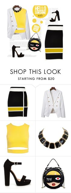 """NYFW yellow!!"" by tea-ipsa ❤ liked on Polyvore featuring River Island, Sans Souci and NYFW"