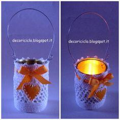 Lanterna fatta con un barattolo di latta, con cuore di buccia d'arancia e uncinetto