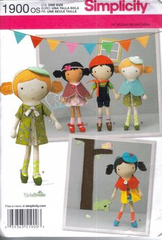 Simplicity pattern 1900 boy and girl 18 inch dolls with beret cape shoes dress shirt scarf overalls and hat. $7.00, via Etsy.