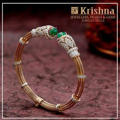 Diamonds are the girls best friend and Krishna twin emeralds with the sparkling embodiment of faceted diamonds in the bracelet is the perfect choice. walk into store Krishna Jewellers Pearls Gems in Jubliee Hills Hyderabad . The Bangles, Plain Gold Bangles, Bracelets Design, Gold Bangles Design, Jewelry Design, Indian Jewellery Design, Imitation Jewelry, Diamond Bracelets, Diamond Jewellery