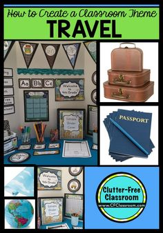 Photos, ideas & printable classroom decorations to help teachers plan & create an inviting travel themed classroom on a budget. Lots of free decor tips & pictures.