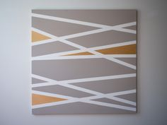 Demi-demi blog: Tableau abstrait DIY / Se prendre pour une artiste Masking tape wall art on canvas
