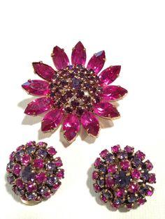 Vintage Rhinestone Set, Brooch and Earring Set, Pink Purple Rhinestones