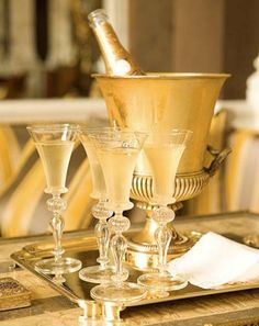 Gold champagne bucket + Gorgeous glasses + gold butler tray.