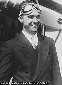 Linuccio : The American millionaire businessman, film director, and aviator, Howard Hughes, in his flying goggles left and plane right, owned the cabin...