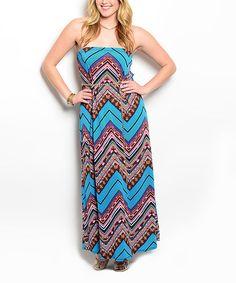 Another great find on #zulily! Blue & Brown Chevron Maxi Dress - Plus #zulilyfinds