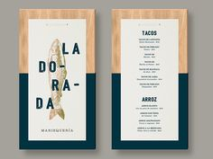 La Dorada on Behance - menu design mounted on wood
