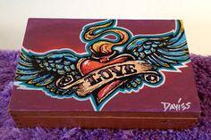 Custom Hand Painted Cigar Box Art – Tattoo Art – Cigar Box – Box - Smoking Decor - Fine Art – Cigar Box Art - Stash Box - Jewelry Box – Love by TimothyDaviesArt on Etsy