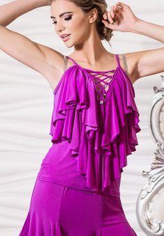 Dance America T612 - Ruffled Top with Laced Neckline  | Dancesport Fashion @ DanceShopper.com