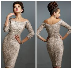 Vintage Sexy Mother of the Bride Dresses Knee-length Three Quarter Sleeves Exquisite Lace Guest Formal Dresses