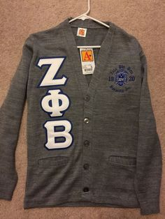 ZETA PHI BETA Gray Long Sleeve Cardigan Sweater (size SMALL) #A #Cardigan