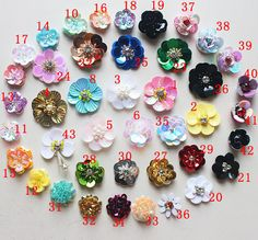 30pcs 2-3cm sequins beads Rhinestones shoes bag socks flower