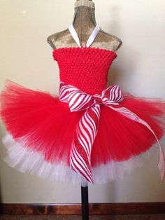 Candy Cane princess holiday tutu Santa pictures outfit by TheTwirl