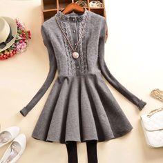 Aliexpress.com: Compre Inverno coreano moda de nova único breasted rendas costura de mangas compridas de malha camisola vestido vestido de lã feminino de confiança gelo vestido fornecedores em all is OK