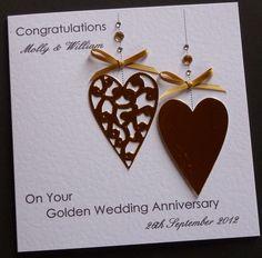 Handmade Anniversary Card Ideas   ... about Handmade Personalised Golden / 50th Wedding Anniversary Card