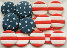 U.S. Flag Stars and Stripes Decorated Patriotic Cookies Platter - Memorial Day / Flag Day / Fourth of July