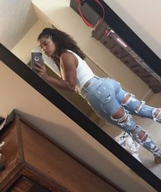 outfit and ripped jeans image - Clothing World Cute Swag Outfits, Dope Outfits, Jean Outfits, Trendy Outfits, Girl Outfits, Fashion Outfits, Black Girl Fashion, Teen Fashion, Estilo Swag
