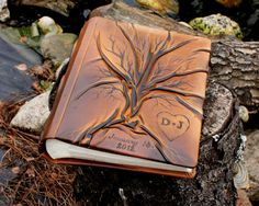 Wedding leather Photo album  with Tree of Life for 200 photos with custom engraving heart and initials with date