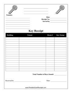key receipt template