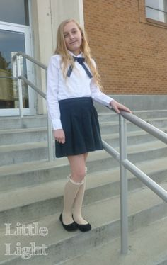 School uniforms don't have to be boring. Make them fashionable by adding cute, lace socks. Ballerina Fashionista, a tween fashion series on Little Light Design Collective because tweens have fashion needs too.