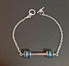 Crossfit bling barbell bracelet by MadeByMommaStore on Etsy, $9.00