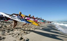 competitors run to the water during the start of the Open Women's Board Race final, 2009 Australian Surf Lifesaving Championships Beach Rats, Surfing Tips, Lifeguard, Life Savers, Beach Bum, Good Times, Fighter Jets, Boards, Waves