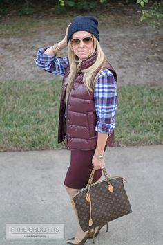 Blue plaid with maroon puffer jacket and pencil skirt. LV brown tote bag,  with blue cashmere beanie