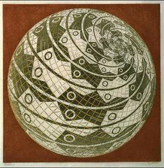 """Sphere Surface with Fish"" by M.C. Escher, 1958.  (Woodcut in grey, gold, and reddish-brown; printed from 3 blocks.)"