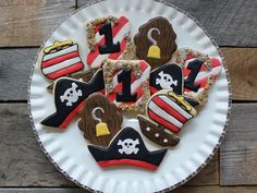 Pirate Birthday Sugar Cookies by Kaylin Jones Cupcake Cookies, Sugar Cookies, Cupcakes, Pirate Hats, Pirate Theme, Pirate Birthday, Birthday Cake, Pirate Cookies, Biscotti