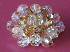 broche perles aurora borealis et ambrées