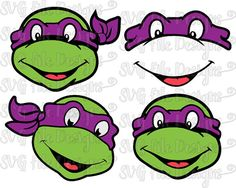 Teenage Mutant Ninja Turtle Donatello Purple Mask Layered Cutting File / Clipart in Svg, Eps, Dxf, Png and Jpeg for Cricut and Silhouette