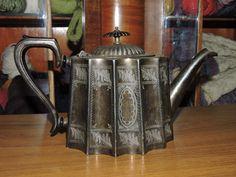 Edwardian Silver Plate Tea pot Engraved by VintageMenage on Etsy
