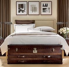 Long steamer trunk for the end of your bed (from Restoration Hardware?) Steamer Trunk - Image from Apartment Therapy