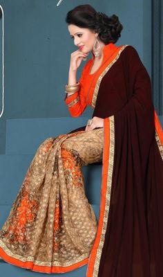 Look chic in this beige and brown color printed silk georgette half n half sari. This appealing saree is displaying some fantastic embroidery done with lace and printed work. #browncolorhalfnhalfsari #latestprintedsaris #georgettesilksarees
