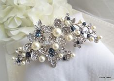 Blue Swarovski Crystal and Pearl Wedding by DivineJewel on Etsy
