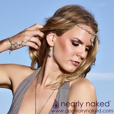 Nearly Naked's jewelry accentuates your femininity, flatters your curves, and brings out your inner siren. It encourages you to be a little risqué, a little unexpected, and completely captivating. f#gonearlynaked #barefootsandals #footjewelry #bodychains #bodyjewelry #handpieces #headpieces #hairpieces #sexyjewelry #beachjewelry #madeinamerica #boudoir