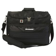Brunswick Flash Double Tote (Black) by Brunswick. $49.80. Elevate your game with the professional look of the Brunswick Flash double tote, which carries two balls in its protective foam holder. It includes a large front accessory pocket and interior shelf that accommodates shoes up to size 15. The padded, adjustable shoulder strap helps you manage the load. Bowling Accessories, Sports Games, Balls, Shoulder Strap, Shelf, Outdoors, Pocket, Interior, Sports