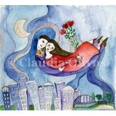 Lovers in the Sky, watercolor on paper $20.-