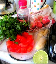 Berry Watermelon Cilantro Smoothie