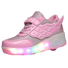 CPS Kids Adults LED Light Up Sneakers Wing Single Wheels Roller Skate Shoes  (6 M