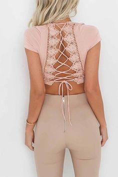 V-neck Criss-cross Back Crop Top in Pink